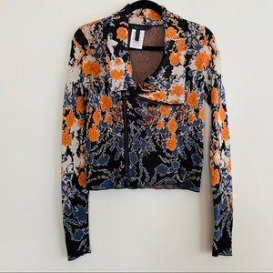 BCBGMaxazria Floral Moto zip Cardigan Sweater